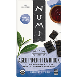 A package of Numi Organic Tea - Aged Pu·erh Tea Brick