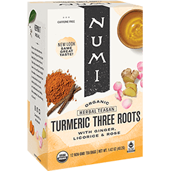 Numi Tea - Organic - Turmeric - Three Roots - 12 Bags - Case of 6