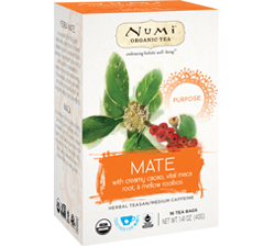 A package of Numi Organic Tea - Mate (Purpose)