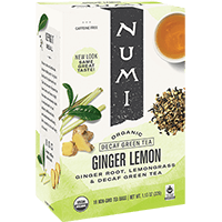 This is the picture of Decaf Ginger Lemon under the category NumiTeaStore@Teabag@Green in Numi Organic Tea. Click to add to cart.