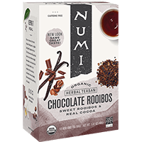 This is the picture of Chocolate Rooibos under the category NumiTeaStore@Teabag@Indulgent in Numi Organic Tea. Click to add to cart.