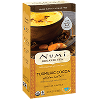 This is the picture of Turmeric Cocoa under the category NumiTeaStore@LooseTea@TurmericLatte in Numi Organic Tea. Click to add to cart.